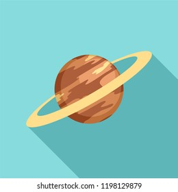 Saturn planet icon. Flat illustration of saturn planet vector icon for web design