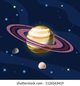 Saturn, vector cartoon illustration. Planet Saturn with rings, planet of Solar system in dark deep blue space, isolated on blue background