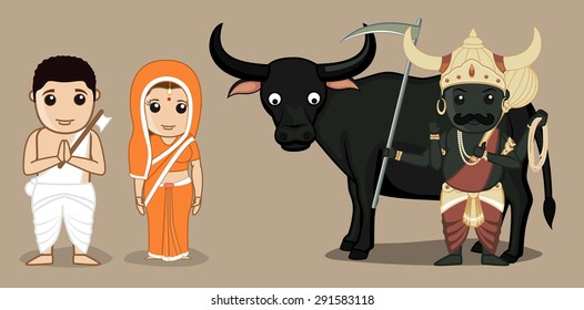 Satyavan Savitri with Yamraj - Indian Mythological Characters