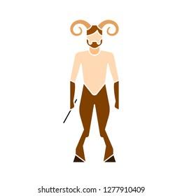satyr icon - satyr isolated , greek mythology illustration- Vector roman satyr