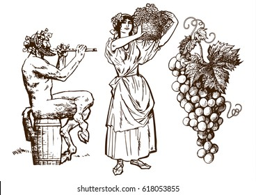 Satyr sitting on the barrel, beautiful peasant woman carrying basket and bunch of grapes. Design elements for wine list. Hand drawn vector illustration in vintage style. Isolated on white background.