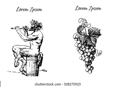 Satyr sitting on the barrel playing the flute and bunch of grapes. Elements for design for wine list, menu card or tattoo. Hand drawn vector illustration.