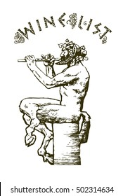 Satyr sitting and playing the flute. Elements for design for wine list, menu card. Hand drawn vector illustration. Isolated on white background. In old engraving style.