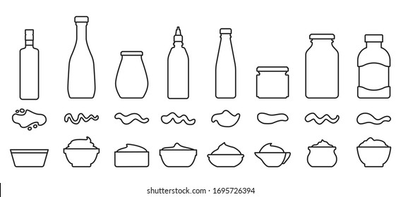 Sauce for bbq outline vector set icon.Vector illustration icon ketchup and dip. Isolated illustration set bottle and bowl sauce.