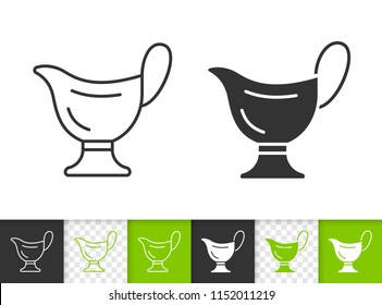 Sauce boat black linear and silhouette icons. Thin line sign of gravy. Ceramic bowl outline pictogram isolated on white, transparent background. Vector Icon shape. Sauce Boat simple symbol closeup