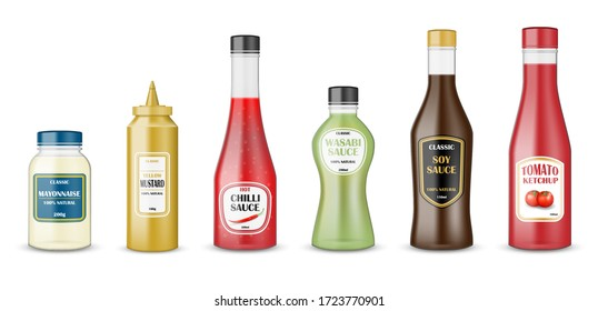 Sauce bottles set. realistic glass bottle containers with ketchup, mayonnaise, mustard, hot chilli and soy sauces. Condiment plastic packaging for fast food sauces. vector illustration