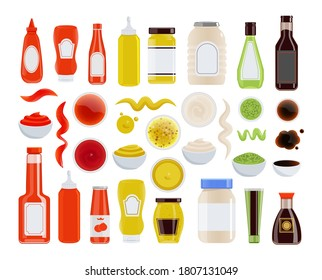 Sauce icon. Ketchup, mayonnaise, mustard, soy sauce in glass or plastic bottle, tube, bowl. Condiment wavy trace and stain isolated icon set on white background. Vector food ingredient illustration