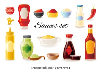 Sauce mock up set. Soy Wasabi Mustard Ketchup Hot Chilli Mayonnaise sauces. Food icons. Plastic squeeze package, glass bottle, cup bowl. 3d realistic vector illustration isolated on white background