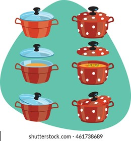 Sauce pan with lid and soup. Clean red sauce pan with polka dot pots pattern. Glass lid and yellow soup. Open and closed pot. Isolated. On aquamarine background.