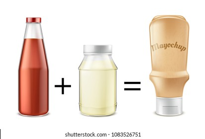 Sauce recipe vector concept illustration. Tomato ketchup mixed with mayonnaise to get mayochup, condiment for eating and cooking. Mockup with glass bottle and plastic jars for product advertising