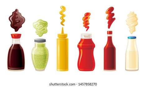 Sauce set. Soy Wasabi Mustard Ketchup Hot Chili Mayonnaise sauces. Food icons, mock up plastic squeeze packaging, glass bottle with splash. 3d realistic vector illustration isolated white background