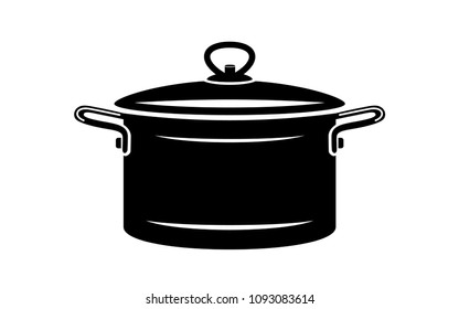 Saucepan for cook hot dishes icon. Simple illustration of saucepan for cook hot dishes vector icon for web