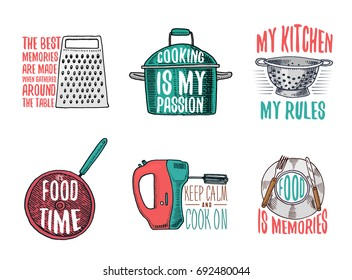 saucepan and grater, colander and frying pan, mixer and plate. Baking or dirty kitchen utensils, cooking stuff. logo emblem or label, engraved hand drawn in old sketch and vintage style.