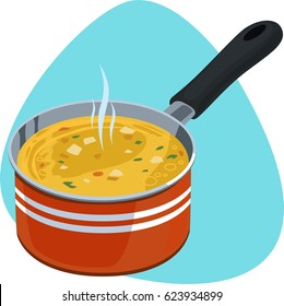 Saucepan with hot yellow soup. Red deep cooking pan with one handle. Isolated. On blue background.