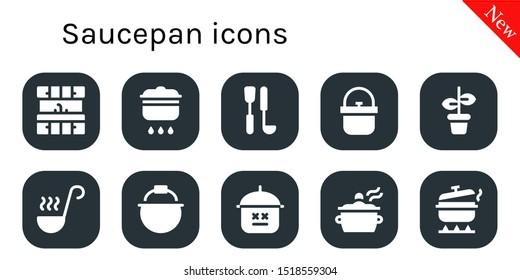 saucepan icon set. 10 filled saucepan icons.  Collection Of - Kitchen, Cooking, Soup ladle, Pot, Ladle icons