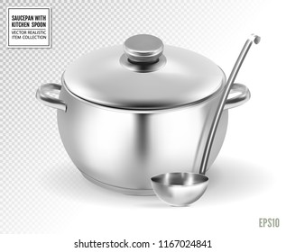 Saucepan and ladle. from stainless steel. on a transparent background. Realistic vector, 3d illustration
