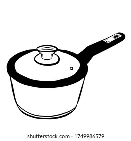 Saucepan with lid metal cookware hand drawn kitchen utensils isolated on white background. Vector illustration in doodle stile.