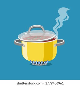 Saucepan on burner. Cartoon steel cooking pot with boiling soup, flaming gas burner heats kitchen cookware pan, vector illustration concept of home dinner isolated on blue background