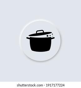 Saucepan, pot vector neumorphism design icon