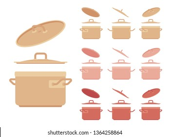 Saucepan set, kitchen appliance. Saucepot for stewing or boiling food, cooking pot, deep utensil with a lid. Vector flat style cartoon illustration isolated on white background, different views, color
