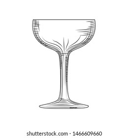 Saucer glass. Hand drawn champagne glass sketch. Empty sparkling wine glass. Engraving style. Vector illustration isolated on white background.