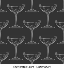 Saucer glass seamless pattern. Hand drawn champagne glass sketch. Empty sparkling wine glass. Engraving style. Design for fabric, textile print, wrapping paper. Vector illustration