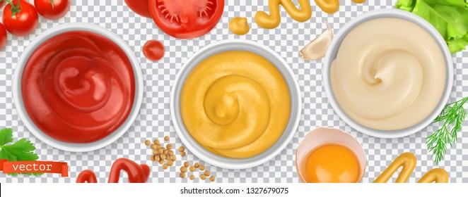 Sauces. Ketchup, mustard, mayonnaise. 3d vector realistic set