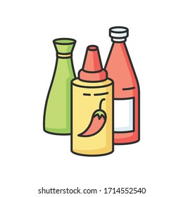 Sauces RGB color icon. Ketchup in bottle. Condiment for barbecue cooking. Recipe ingredient. Meal dressings. Tabasco seasoning in bottle. Chili pepper gravy. Hot sauce. Isolated vector illustration