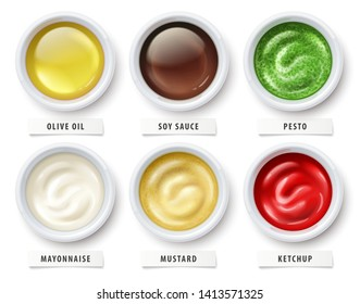Sauces set. Virgin olive oil, soy sauce, pesto, mayonnaise, mustard and tomato ketchup in ceramic cups. Ingredients for flavoring salads, cooking food isolated on white background. Illustration.