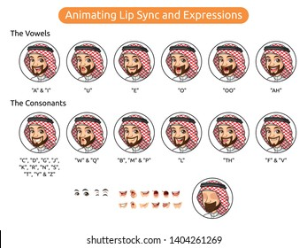 Saudi arab man cartoon character design for animating lip sync and expressions, vector illustration.