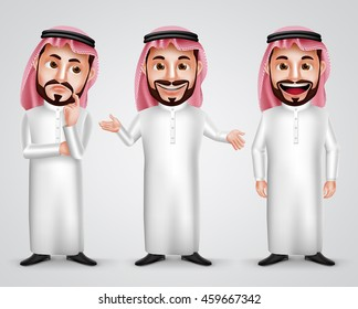 Saudi arab man vector character set wearing thobe and gutra with different friendly gesture like thinking, speaking and presenting. Vector illustration.