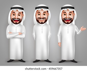 Saudi arab man vector character set with different friendly gesture and professional pose for business purpose. Vector illustration.