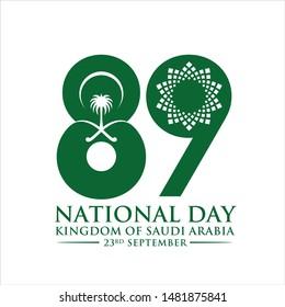 Saudi Arabia 89 National Day. 23rd September. Vector Illustration.