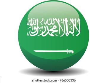 Saudi Arabia circle button flag background texture. Vector illustration.