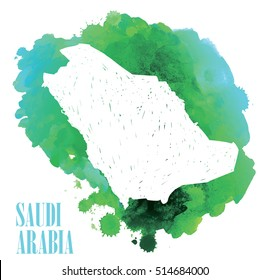 Saudi Arabia.  Country circuit. Vector drawing on the background of watercolor paint stains .