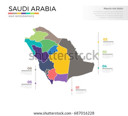 Saudi Arabia Country Map Infographic Colored Stock Vector (Royalty ...