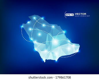 Saudi Arabia country map polygonal with spot lights places