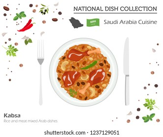 Saudi Arabia Cuisine. Middle East national dish collection.  Kabsa isolated on white, infograpic. Vector illustration