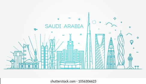 Saudi Arabia detailed Skyline. Travel and tourism background