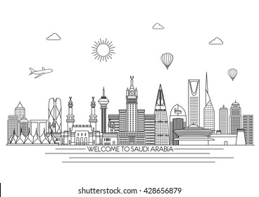 Saudi Arabia detailed Skyline. Travel and tourism background. Vector background. line illustration. Line art style