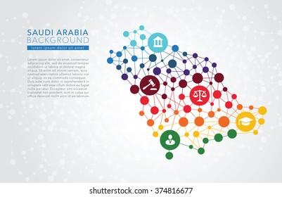 Saudi Arabia dotted vector background