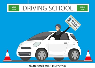 Saudi arabia driving school,Happy Arab Girl or Saudi woman driving a white car,driver license in hand,flat vector illustration