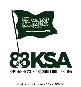 Saudi Arabia Flag and coat of arms, with Arabic text. Translation: There is no god but Allah and Muhammad is his prophet. National Day of Saudi. 23rd September. 88. Vector Illustration. Eps 10.
