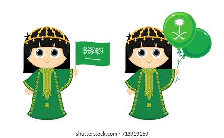 Saudi Arabia Flag ,   Girl is wearing an Old Traditional dress and carrying KSA flag