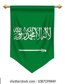 Saudi Arabia flag or pennant isolated on white