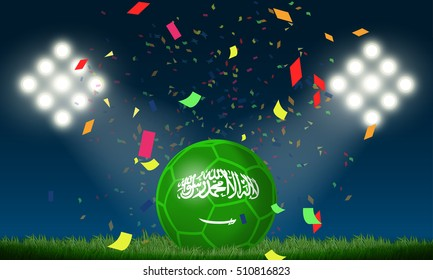 Saudi Arabia flag in soccer ball with confetti in stadium to celebrate for football match in night time with spot light backdrop, This design for sport template , banner in vector illustration