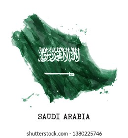 Saudi arabia flag watercolor painting design . Country map shape . Independence day concept ( 23 September ) . Vector .