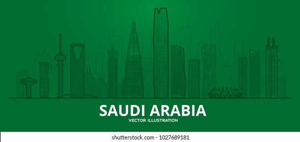 Saudi Arabia  Flat vector lines illustration. Business travel and tourism concept with modern buildings. Image for banner or web site.