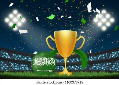 Saudi Arabia football with trophy cup and flag among crowd audience in soccer stadium in vector illustration. concept for football result template use in web or mobile phone application