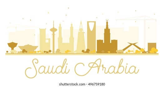 Saudi Arabia golden skyline silhouette. Vector illustration. Simple flat concept for tourism presentation, banner, placard or web site. Business travel concept. Cityscape with landmarks